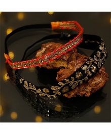 D'chica Set Of 2 Ethnic Headbands For Chic Divas - Black & Red