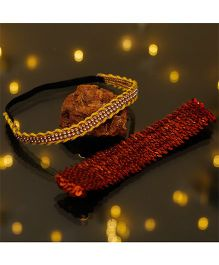 D'chica Traditional Colours Ethnic Wear Headbands - Red & Yellow