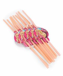 Barbie Straw Pack of 10 Orange - 26 cm
