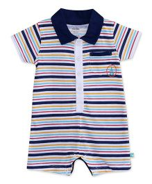 FS Mini Klub Short Sleeves Stripe Romper - Navy Blue