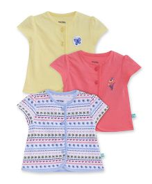 FS Mini Klub Short Sleeves Vest Floral Print Pack Of 3 - White Pink Yellow