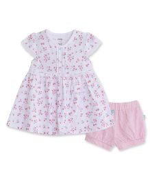 FS Mini Klub Cap Sleeves Frock And Bloomer Floral Print - White Pink
