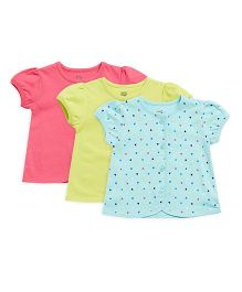 FS Mini Klub Half Sleeves Vests Printed Pack of 3 - Pink Green Blue