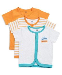 FS Mini Klub Half Sleeves Vests Printed Pack of 3 - Orange Grey Sea Green