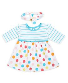 FS Mini Klub Full Sleeves Dress With Headband - Blue & Multicolor