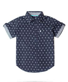 Mint & Cotton Half Sleeves Shirt Anchor Print - Blue