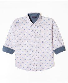 Mint & Cotton Full Sleeves Shirt Dolphin Print - White Blue