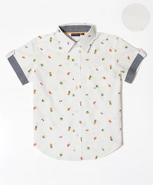 Mint & Cotton Half Sleeves Shirt Fruits Print - White