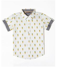 Mint & Cotton Half Sleeves Shirt Pineapple Print - Off White