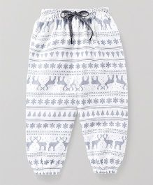 Babyhug Full Length Lounge Pant Deer Print - White