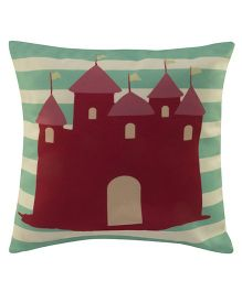 Playhood Castle Design Cushion Cover - Green Maroon