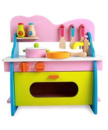 Emob Wooden Kitchen Playset - Pink Green