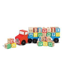 Emob Alphabetical Stacking Blocks With Wooden Truck - Multi Color