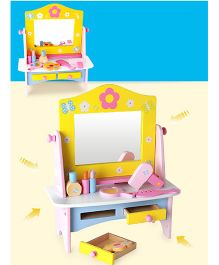 Emob Wooden Dresser Table With Mirror & Accessories - Multi Color