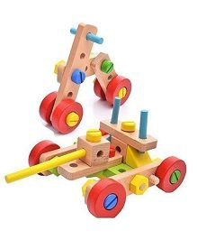 Emob 3 In 1 Wooden Vehicle Building Blocks Multi Color - 45 Pieces
