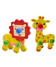 Emob DIY Animal Blocks Toy Set Of 2 - Multi Color
