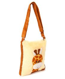 IR Soft Fur Shoulder Bag Giraffe Applique - Brown Cream