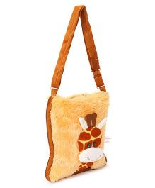 IR Soft Fur Shoulder Bag Giraffe Applique - Maroon Brown