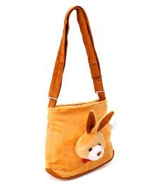 IR Plush Shoulder Bag With Bunny Face - Brown