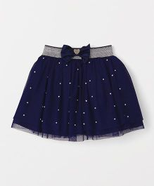 Babyhug Party Wear Skirt With Pearl Embellishment - Navy Blue