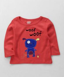 Babyhug Full Sleeves T-Shirt Puppy Patch - Coral