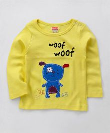 Babyhug Full Sleeves T-Shirt Puppy Patch - Yellow