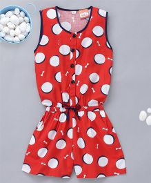 Kid1 Summer Style Dot Print Jumpsuit - Red
