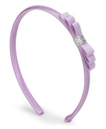Flaunt Chic Three Layer Bow Non Teethed Hairband - Purple
