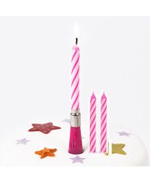 Party Anthem Musical Birthday Candle Set of 3 With 1 Holder - Pink
