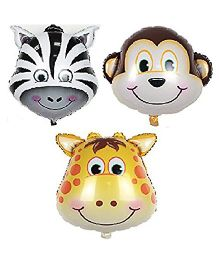 Party Anthem Jungle Theme Animal Head Shaped Foil Balloons - Pack Of 3