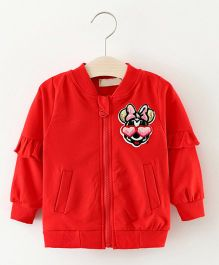 Pre Order - Awabox Cartoon Character Applique Doctor Sleeve Sweat Shirt - Red