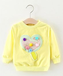 Pre Order - Awabox Heart Applique Sweat Shirt - Yellow