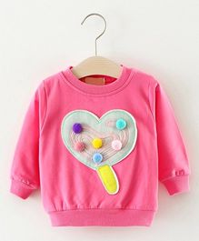 Pre Order - Awabox Heart Applique Sweat Shirt - Rose Pink