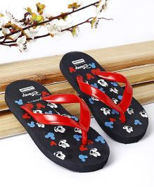 Cute Walk by Babyhug Flip Flop Mickey Mouse Print - Black & Red