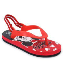 Cute Walk by Babyhug Flip Flops Mickey Mouse Print - Red