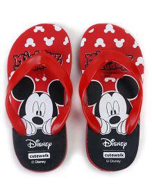 Cute Walk by Babyhug Flip Flops Mickey Mouse Print - Red Black