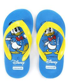 Cute Walk by Babyhug Flip Flops Donald Print - Blue