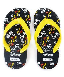 Cute Walk by Babyhug Flip Flops Mickey Print - Black