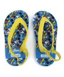 Cute Walk by Babyhug Flip Flops Mickey Mouse Print - Blue