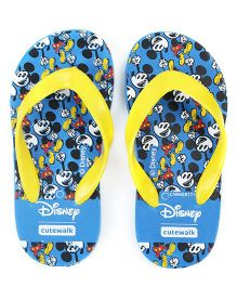 Cute Walk by Babyhug Flip Flops Mickey Print - Blue