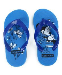Cute Walk by Babyhug Flip Flops Minnie Print - Blue