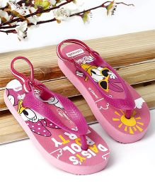 Cute Walk by Babyhug Flip Flop With Back Strap Daisy Duck Print - Pink