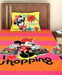 Bombay Dyeing Single Bed Sheet And Pillow Cover Set Disney Minnie Mouse Print - Pink
