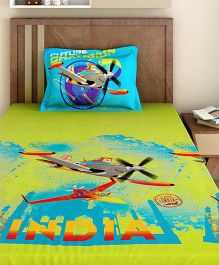 Bombay Dyeing Single Bed Sheet And Pillow Cover Set Disney Planes Print - Green