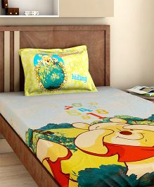 Bombay Dyeing Single Bed Sheet And Pillow Cover Set Winnie The Pooh Print - Yellow