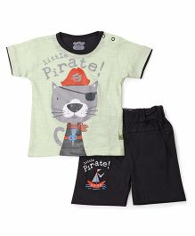 Mini Taurus Half Sleeves T-Shirt & Shorts Little Pirate Print - Pista Green & Black