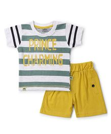 Mini Taurus Half Sleeves T-Shirt & Shorts Prince Charming Print - White Yellow