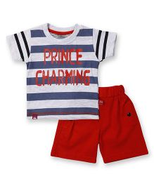 Mini Taurus Half Sleeves T-Shirt And Shorts Set Stripes Print - Blue Red