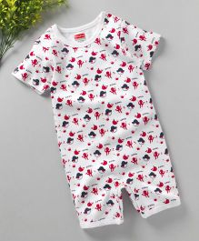 Babyhug Half Sleeves Romper Pirate Print - White Red