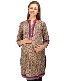 MomToBe Three Fourth Sleeves Maternity Kurti Floral Print - Brown